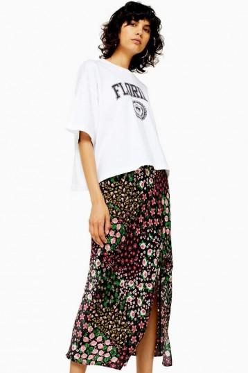 Topshop SAN DIEGO Black Patchwork Floral Bias Skirt | front slit skirts