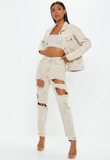 Missguided sand extreme ripped riot mom rigid jeans | destroyed denim