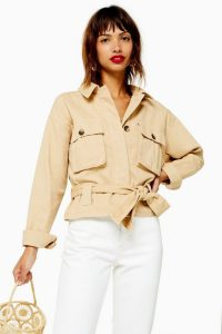 Topshop Sand Tie Shacket – belted shackets – lightweight jackets