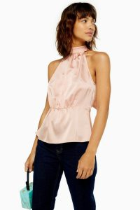 Topshop Satin Bow Back Halter Neck Top in Nude