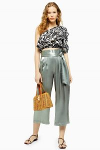 TOPSHOP Pistachio Satin Crop Wide Leg Trousers