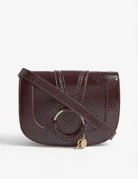 SEE BY CHLOE Burgundy-Leather Croc-effect Hana shoulder bag