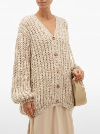 THE ROW Seilde cashmere-blend cardigan in beige ~ chic knits