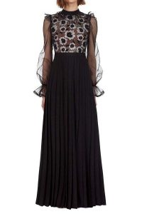 Self Portrait Abstract Floral Guipure Maxi Dress