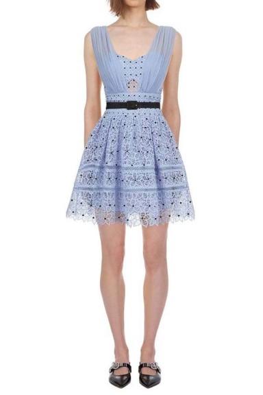 Self Portrait Sleeveless Blue Hibiscus Floral Guipure Mini Dress