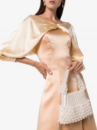 Shrimps Cream Quinn Beaded Shoulder Bag / little luxe handbag