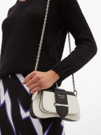 PRADA Sidonie mini white and black leather shoulder bag