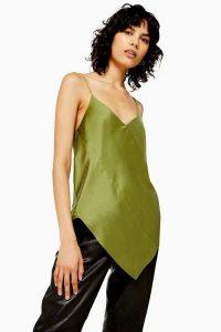 Topshop Boutique Silk Spiral Camisole Top in Khaki | asymmetric hemline cami
