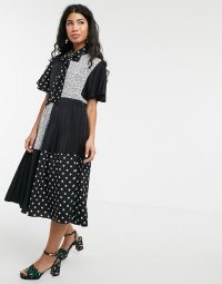 Sister Jane pleated midi dress with pussybow in animal star mixed print black / white