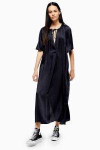 Topshop Boutique Smock Maxi Dress Navy Blue