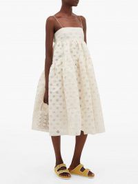 CECILIE BAHNSEN Sofie floral-jacquard devoré midi dress in cream ~ voluminous dresses