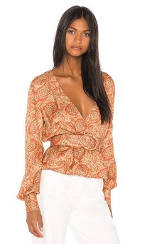 Song of Style x REVOLVE Arden Top | paisley print belted blouse