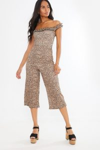 IN THE STYLE STARLI LEOPARD FRILL BARDOT CULOTTE JUMPSUIT