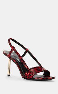 STELLA LUNA Leopard-Print Patent Leather Slingback Sandals in Red