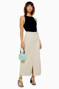 Topshop Boutique Stone Denim Maxi Skirt
