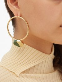 JIL SANDER Stone-embellished hoop earrings