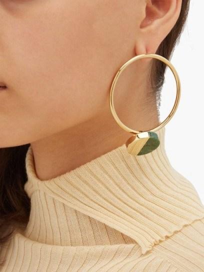 JIL SANDER Stone-embellished hoop earrings - flipped