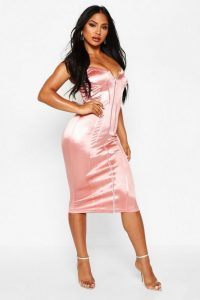 boohoo Stretch Satin Corset Detail Midi Dress in Rose