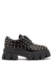 PRADA Studded black-leather derby shoes / chunky lace-ups