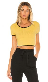 superdown Jolie Crop Top Yellow and Black