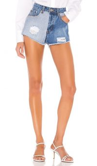superdown Lydia Two Tone Short Blue Multi   distressed denim shorts