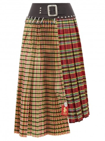CHOPOVA LOWENA Tartan and leather pleated wool-blend skirt / checked asymmetric skirts