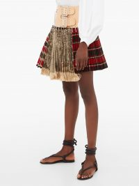 CHOPOVA LOWENA Tartan recycled-tapestry mini skirt