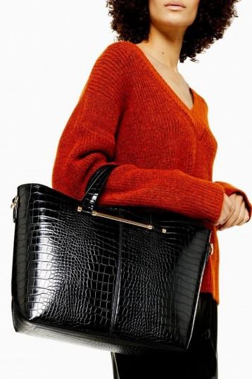 TOIPSHOP TAZ Black Crocodile Tote Bag