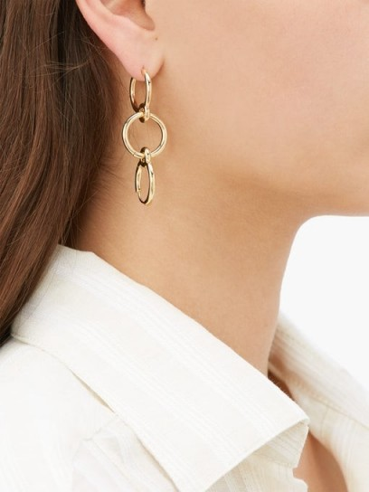 CHARLOTTE CHESNAIS Three Lovers detachable hoop gold-vermeil earring ~ linked hoops ~ single earrings