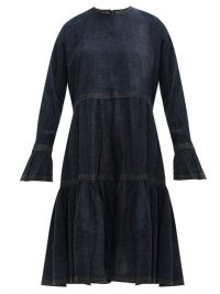 VALENTINO Tiered cotton-denim dress