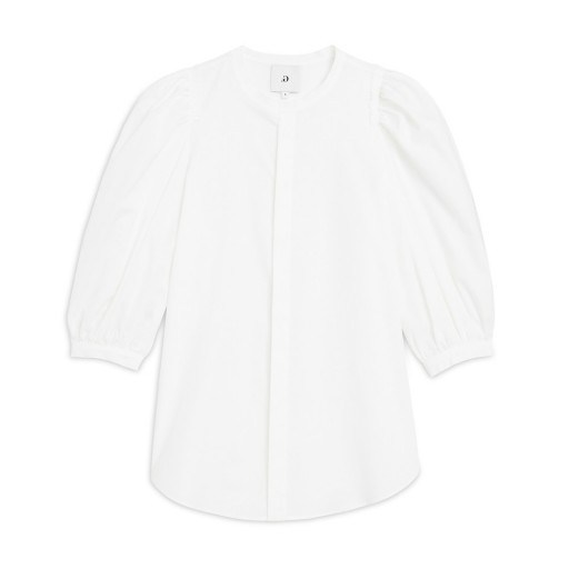 Gwyneth Paltrow white voluminous sleeved blouse, G. Label TRACY PUFF-SLEEVE BUTTON-DOWN, out in London, 28 June 2019 | celebrity street style tops - flipped