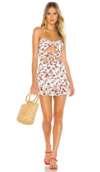 Tularosa Anna Dress in Red Dolly Floral   strapless cut-out summer frock