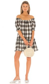 Tularosa Rylee Dress Black and Cream – checked bardot dresses
