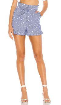 Tularosa Tiffany Short in Navy & White   blue frill trimmed shorts