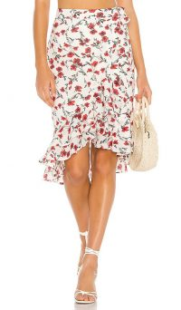 Tularosa Veronica Skirt Red Dolly Floral | ruffled summer skirts
