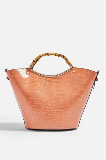 Topshop TYLER Bamboo Handle Tote Bag in Apricot