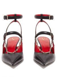 VALENTINO V Logo-chain leather slingback pumps