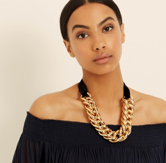 AMANDA WAKELEY Velvet & Gold Chunky Chain Necklace