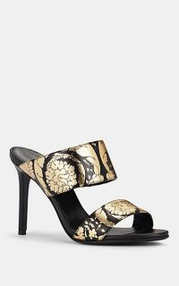 VERSACE Floral-Print Metallic Leather Mules in Black / Gold