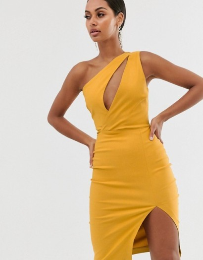 Vesper one shoulder midi pencil dress in stretch with split in golden yellow