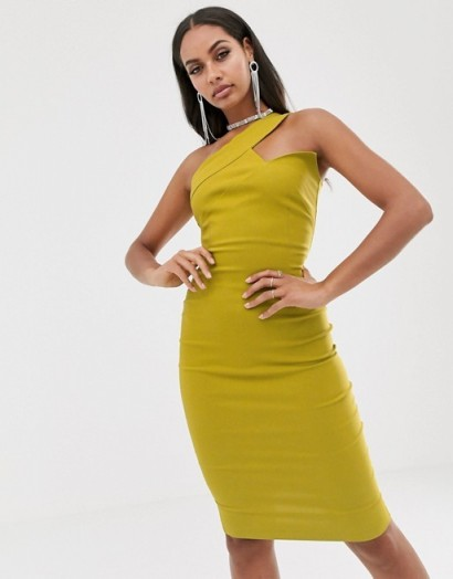 Vesper one shoulder midi stretch pencil dress in ochre | fitted party frock