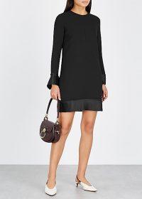 VICTORIA, VICTORIA BECKHAM Black crepe shift dress ~ chic lbd