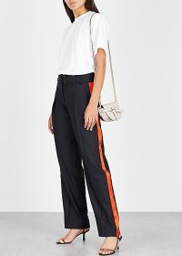 VICTORIA, VICTORIA BECKHAM Side stripe navy twill trousers ~ dark-blue red striped pants