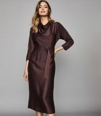 REISS VIENNA BELTED MIDI DRESS BERRY ~ contemporary clothing