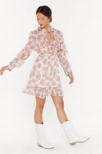 Nasty Gal Wanna Grow Again Floral Ruffle Dress