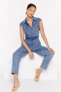 Nasty Gal Wash Out for Me Belted Denim Jumpsuit
