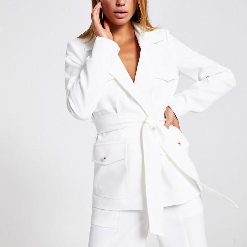 River Island White belted utility blazer | fresh summer look