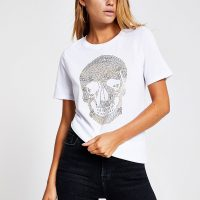 River Island White embellished skull print T-shirt | classic crew neck tee