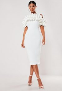 Missguided white frill bardot midi dress | party glamour