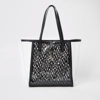 River Island White RI monogram perspex shopper beach bag | chic transparent bags